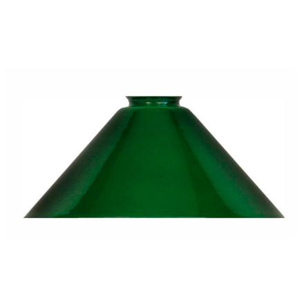 Grön munblåst Flänsskärm ´Tophat Steep´ 56-58 mm. HxB: 120x260 mm.