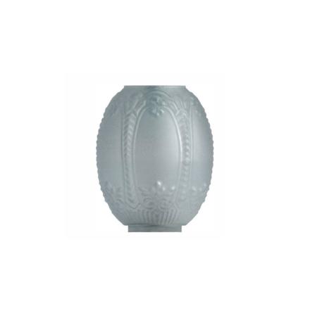 Matterad munblåst fotogenkupa 69-71 mm. HxB: 190x155 mm.